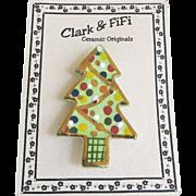Vintage Clark Fifi Christmas Tree Pin Original Card Ceramic Handcrafted
