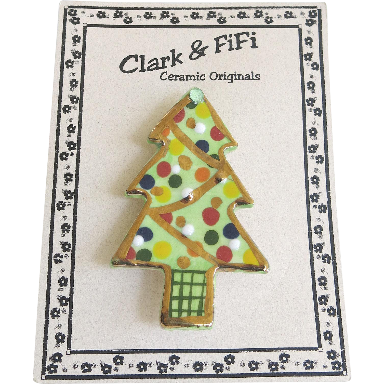 Vintage Clark Fifi Christmas Tree Pin Original Card Ceramic Handcrafted