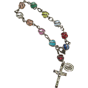 Sterling Caged Moonglow Lucite Rosary Bracelet Vintage Silver