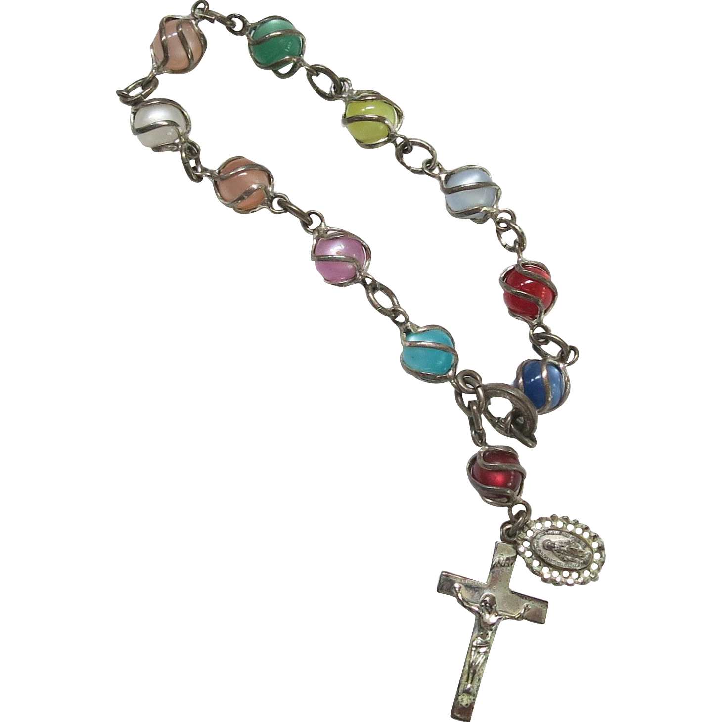 Sterling Caged Moonglow Lucite Rosary Bracelet SS Vintage Silver
