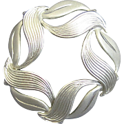 Vintage Beau Sterling Leaf Circle Pin Silver Modernist SS