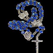 Vintage AB Rosary Beads Our Lady Blue Aurora Borealis Italy