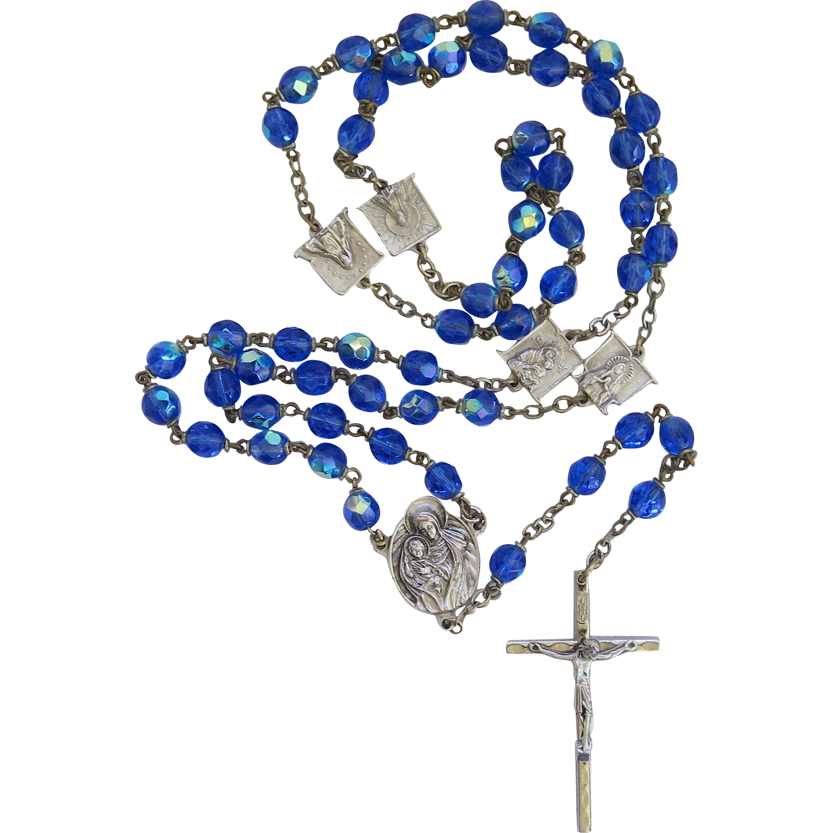 Vintage AB Rosary Beads Our Lady Blue Aurora Borealis Italy