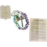 Vintage World Mission Lucite Moonglow Rosary Beads Original Case Paperwork ca 1951 - Red Tag Sale Item