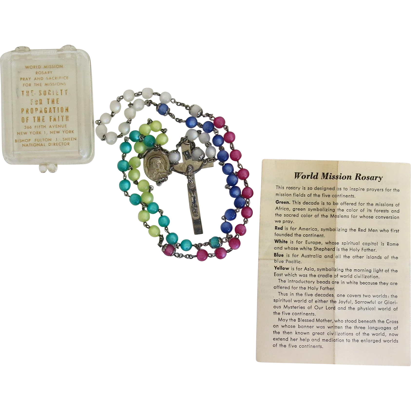 Vintage World Mission Lucite Moonglow Rosary Beads Original Case Paperwork ca 1951