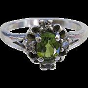 Vintage Sterling Prasiolite Green Quartz Ring Silver Vermarine Size 8