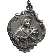 Vintage Sterling Catholic Medal Saint Therese of Lisieux The Little Flower Silver
