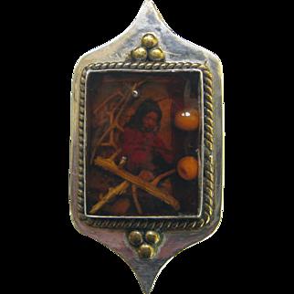 Sterling Saint Kateri Native American Pin Brooch Vintage Dimensional Silver Mohawk Tekakwitha