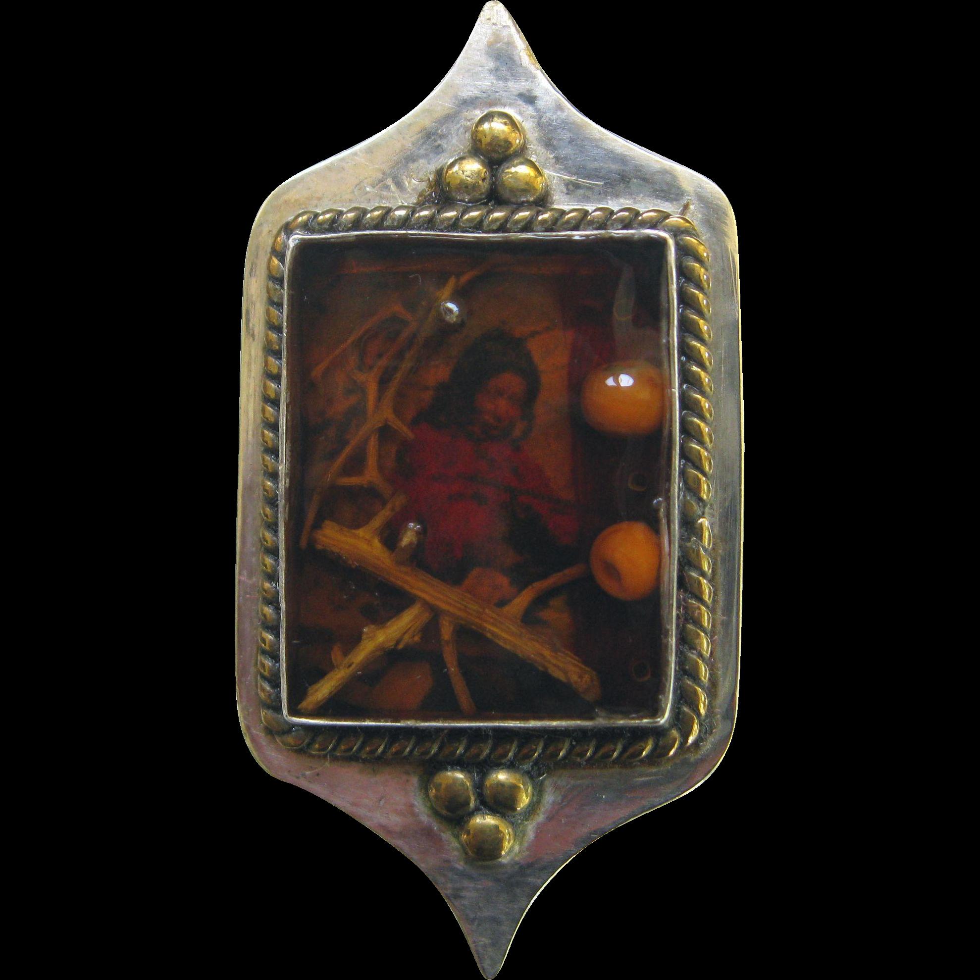 Sterling Saint Kateri Native American Pin Brooch SS NA Vintage Dimensional Silver Mohawk Tekakwitha