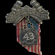 Antique Daughters of Liberty Badge Pin Flag ca 1907 Patriotic Women