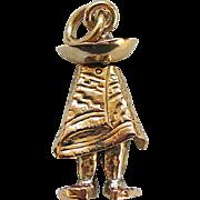 Vintage Gold Figural Mexican Man Charm 14k  Comanchero