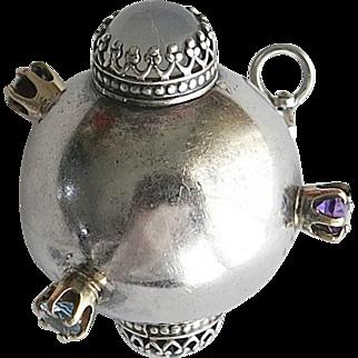 Vintage Silver Gem Sputnik Ball Pendant Sterling Atomic