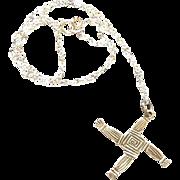 Vintage Silver Saint Brigids Cross Necklace Celtic Irish  Sterling 18 inch