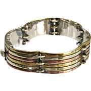 Vintage Modernist Sterling Taxco Panel Bracelet TriColor Brass Copper Silver