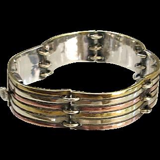 Vintage Modernist Sterling Taxco Panel Bracelet Mixed Metals Brass Copper Silver ca 1980