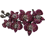 Vintage Nolan Miller Brooch Floral Fantasy Series II Budding Branch Pin Pink
