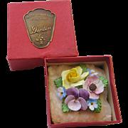 Vintage Denton Bone China Flower Brooch Original Box Porcelain 3 Dimensional
