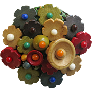 Vintage Czech Wood Flower Pin Brooch ca 1930 Multi Color