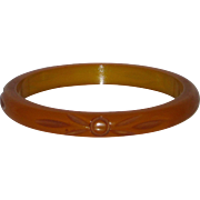 Vintage Caramel Bakelite Carved Bangle Bracelet Pumpkin Butterscotch Honey Tested