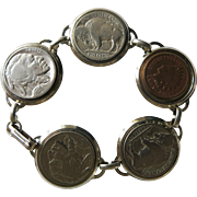 Vintage Indian Head Buffalo Coin Bracelet 5 Coins ca 1980