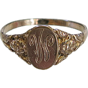 Vintage Rose GF Angel Ring Signet Initial W Gold Filled Size 6.75