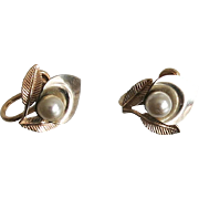 Vintage Van Dell GF Earrings Calla Lily Cultured Pearl 12K Gold Filled ca 1950