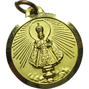 Vintage Infant of Prague Charm Medal Goldtone Aluminum
