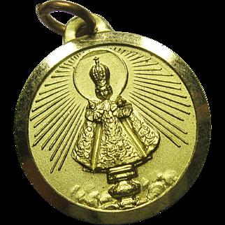 Vintage Infant of Prague Charm Medal Goldtone Aluminum