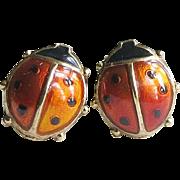 Vintage Enamel Sterling David Andersen Ladybug Earrings Luck Abundance