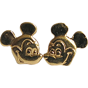 Sterling Mickey Mouse Pierced Earrings Disney SS Gold Plate Tiny