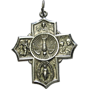 Vintage Sterling 4 Way Catholic Cross Pendant Medal Silver Dove I Am Catholic