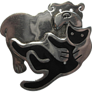 Vintage Anne Harvey Mexico Cat Dog Pin Sterling Modernist
