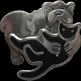 Vintage Anne Harvey Mexico Cat Dog Pin Sterling Modernist