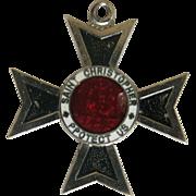 Vintage St Christopher Maltese Cross Pendant Enameled Japan