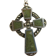 Vintage Irish Celtic Cross Necklace Connemara Marble Sterling Reversible Dublin