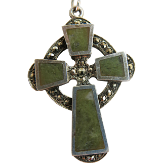 Vintage Irish Celtic Cross Necklace Connemara Marble Sterling Reversible Dublin