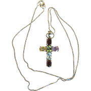 Vintage SS Rainbow Gemstone Silver Religious Cross Necklace Approx 3 ctw Citrine Amethyst Garnet Spinel Peridot Sterling