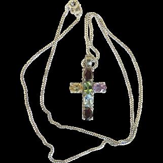 Vintage Rainbow Gemstone Silver Religious Cross Necklace Approx 3 ctw Citrine Amethyst Garnet Spinel Peridot Sterling