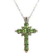 Vintage Peridot Silver Religious Cross Necklace August Birthstone Approx 3.5 ctw Sterling