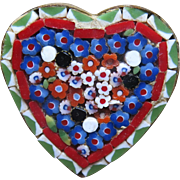 Vintage Mosaic Heart Pin Brooch Red White Blue Green 1 inch
