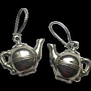 Vintage Figural Teapot Silvertone Pierced Earrings Lightweight