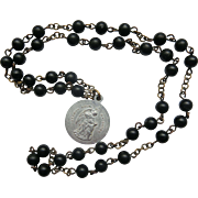 Vintage St Anthony Chaplet Rosary Beads Black Saint Anthony of Padua