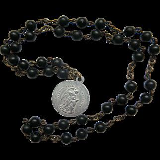 Vintage St Anthony Chaplet Rosary Beads Black Saint Anthony of Padua