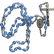 Vintage Sky Blue Rosary Beads France Catholic Bride Something Blue