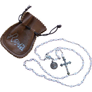 Vintage Sterling Silver Cased Glass Crystal Rosary Beads Roma 1975 Leather Pouch