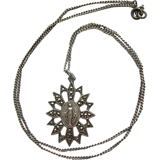 Vintage Silver Marcasite Miraculous Medal Necklace Sterling Mary