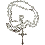Vintage Miraculous Medal Rosary Beads  Silver Plate Crystal Italy