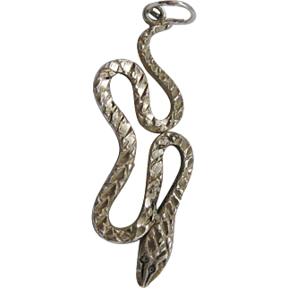 Vintage Silver Textured Slithering Snake Charm Sterling 1.5 inches