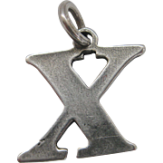 Vintage Sterling Silver X Charm Kiss Initial X Marks The Spot SS