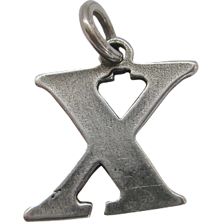 Vintage Sterling Silver X Charm Kiss Initial X Marks The Spot